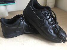 NIKE AF-1 Leather Triple Black Trainers UK size 2…