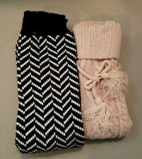 Set of 2, Women Knit Long Boot Socks & Chevron Leg Warmer Set = 2 PAIR LOT