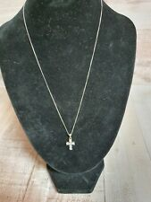 Sterling silver 925 chain and cross pendant with rhinestones