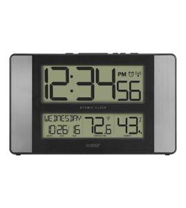513-1417H-AL La Crosse Technology Atomic Digital Wall Clock IN Temperature/Humid