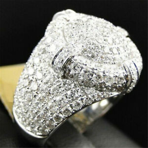 Round Ring Bling Shine Stones Micro Pave Chunky Sparkling Hip Hop Silver Tone