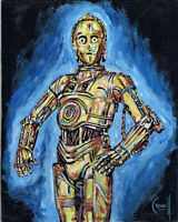 C3PO DROID star wars movie ICON 8x10 robot Painting original art signed CROWELL