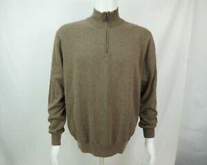 NWT Jos. A. Bank 100% Pima Cotton Men's Half Zip Pullover Sweater Brown L