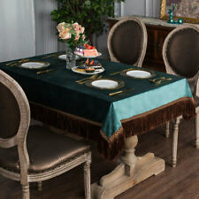 Vintage Tassel Green Tablecloths Rectangle Square Home Party Dining Table Cover