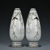 """9"""" Chinese Old Antique Porcelain dynasty A pair famille rose flower bird Vase"""