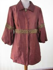 Copper Iridescent Silk Evening Coat Jacket Heavy Gold Beaded Balloon Slv M/L