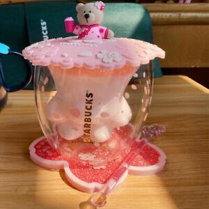 Starbucks Cat Paw Coffee Cup Glass Mug Lid With Pink Sakura Coaster & Rod&Lid