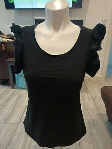 H&M Ladies Black Cap Sleeves Top Size S to fit chest up to 32Rins. Length 23ins.