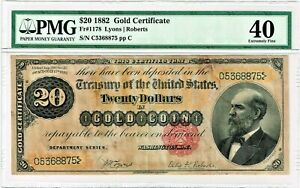 Fr. 1178 1882 Gold Certificate Note Lyons / Roberts PMG Extremely Fine 40