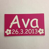 PAIR OF ENGRAVED NUMBER PLATE NAME DATE WITH FLOWERS LITTLE TIKES COZY COUPE