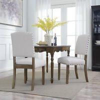 Set of (2) Classic Parson Dining Chairs Living Room Nailhead Trim Tall Backrest