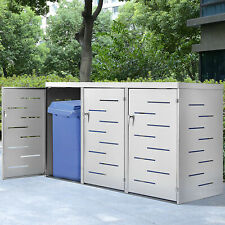 Juskys Arel 3er Edelstahl Mülltonnenbox mit Schiebedach und Verschließbaren Türen - Silber (25476)