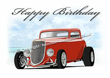 1934 Ford 3 window Hot Rod 34 Coupe  Birthday Greetings Card   ** RED **