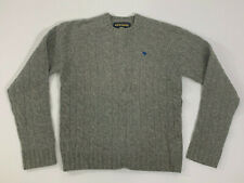 Men's ABERCROMBIE & FITCH Medium Cable Knit Sweater Gray Shetland Wool Cashmere