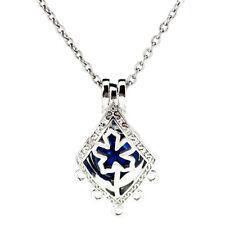 K976 Silver Copper Filigree Small Rhombus Flower Beads Cage Locket Pendant Chain