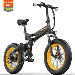 20' 4.0 Fat Tire Folding Electric Bike 1000W Dual Suspension Folding E-Bicycle