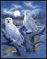 Snowy Owls - DIY Chart Counted Cross Stitch Patterns Needlework 14 ct Aida
