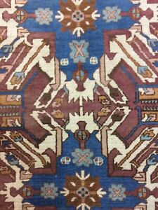 Antique  Old Handmade Kazak Wool Rug Carpet Shabby Chic,Size:7 By 5.6 Ft