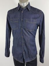 H.E Mango mens dark navy stretch denim shirt Medium