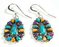 "925 STERLING CLUSTER SPINY OYSTER & TURQUOISE  1 9/16"" x 11/16"" HOOK EARRINGS"
