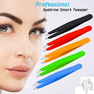 Eyelash Tweezer Professional Eyebrow Extension Volume Slanted Pluckers Steel UK
