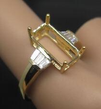 Emerald Cut 7×13mm 18Kt Yellow Gold Natural Diamond Semi Mount Engagement Ring