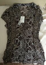 SOON Matalan Sz 10 Crinkle shirt Blouse Floral Brown Cream Tie Back Criss BNWT