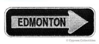 EDMONTON ONE-WAY SIGN EMBROIDERED IRON-ON PATCH applique ALBERTA CANADA SOUVENIR