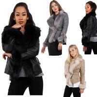 Winter Womens Faux Fur Belted Leather Jacket Look Luxury Warm Winter Biker coat