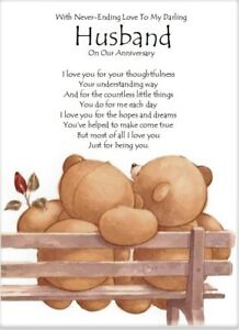 To My Darling Husband On Our Anniversary A5 Card Love Wedding Anniversary