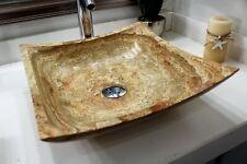Modern natural stone bathroom vessel sink square yellow travertine marble.