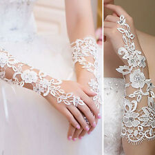 White Crystal Cutout Floral Gloves Elbow Bridal Prom Opera Wedding Formal Party