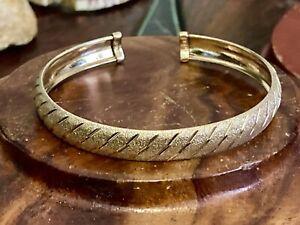 "Vintage Italy Sterling Silver Gold Vermeil Diagonal Stripe 6"" Cuff Bracelet 9.5g"