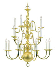 16 Light Polished Brass Chandelier Lighting Livex  Fixture Williamsburg 5016-02