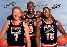 Michael Jordan Larry Bird Magic Johnson 3 Autograph Signed Signature A4 Poster