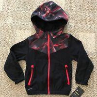 Nike Therma Full Zip Hooded Fleece Jacket Hoodie Black Pink Girls Size 5 86C840