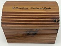 Vintage Yellowstone National Park Souvenir Wood Trinket Box Wyoming Ribbed