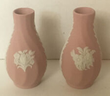 RARE Wedgwood Pair Of Miniature PINK Vases Jasperware