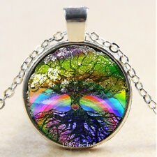 New Cabochon Glass Silver woman Pendants Necklace tree of life Rainbow
