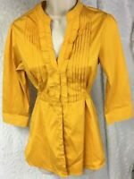 Antilia Femme Womens Shirt size S Stretch Gold  Goldenrod Yellow Pleated Career