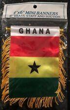 "Ghana 🇬🇭 4 X 6"" MINI BANNER FLAG CAR WINDOW MIRROR HANGING W Suction New"