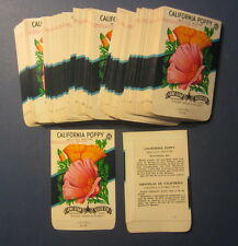 Wholesale Lot of 100 Old Vintage - CALIFORNIA POPPY Flower SEED PACKETS - Empty