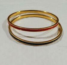 & 1 W/ Black Ring Pair Of Bracelets 2 Monet Vintage Gold Tone Bangles 1 W/ Red