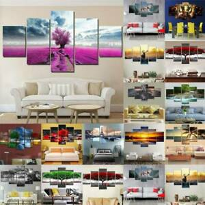 5 Panels Unframed Canvas Wall Hanging Picture Art Oil Living Room Home Decor AU