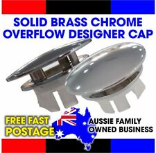 Basin sink overflow hole cap SOLID Chrome Brass Fits 21mm 22mm 23mm 24mm