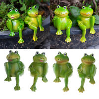 2x Lovely Frog Resin Animal Ornament Statue Garden Lawn Sculpture Kid Toys