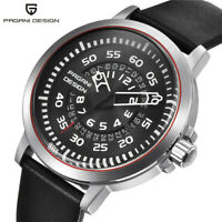 PAGANI DESIGN Luxury Hollow Pointer Wristwatch Mens Genuine Leather Band Watches