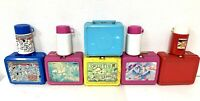 Lot of 6 Vintage Children's Thermos Plastic Lunchboxes + 4 Matching Thermoses