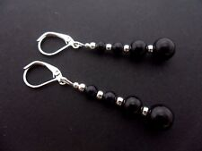 A PAIR OF DANGLY  BLACK GLASS PEARL  SILVER  PLATED LEVERBACK HOOK EARRINGS. NEW