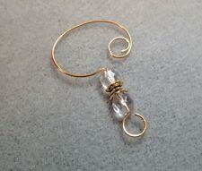 =^..^=  12 Faceted Glass Bead Ornament Hangers Hooks Clear with Gold